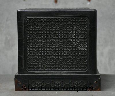 "8.4"" Old Chinese Black Ebony Wood Dynasty Carved Pattern Seal Signet Stamp Box"