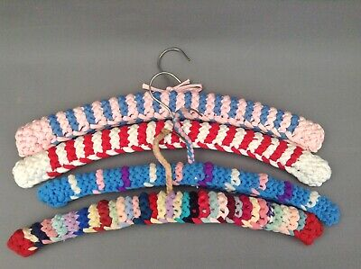 VINTAGE JOB LOT HAND KNITTED & CROCHET  CLOTHES HANGERS shabby chic