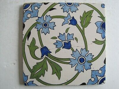 "ANTIQUE 6"" ENGLISH TIN GLAZED? HAND-PAINTED TILE - S & Co -  REPAIRED"
