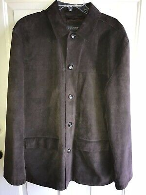 Mens Banana Republic Brown  Suede Leather Coat Jacket Large Great!