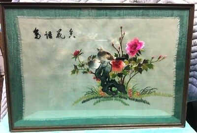 Fine Old Chinese Silk Needlepoint Embroidery Framed Wall Art Wood Frame