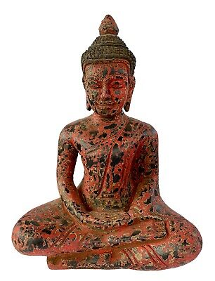 Antique Khmer Style SE Asia Wood Meditation Buddha Statue - 20cm/8""