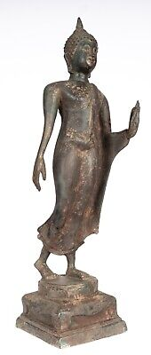 Antique Sukhothai Style Thai Bronze Protection Walking Buddha Statue- 42cm/17""