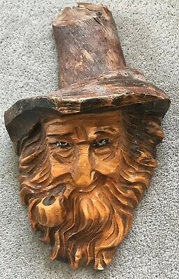 Hand Carved Wood Spirit Old Green Man Tree Face Wizard Gothic Sculpture Carving