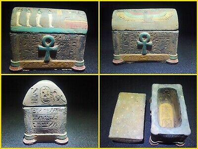 EGYPTIAN ANTIQUES ANTIQUITIES Lided Stone Sarcophagus Coffin Tomb 1549-1084 BC