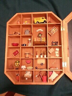 Wooden Shadow Box With Minature Collectibles