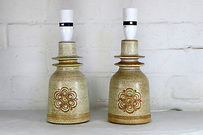 A Pair of Table Lamps Vintage Jersey Pottery Ceramic 1970s Retro Studio Pottery