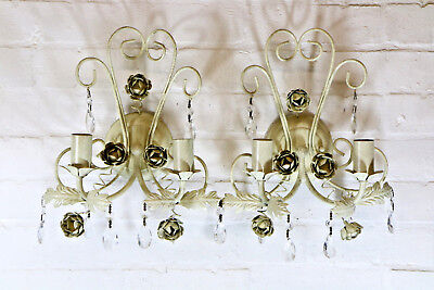 Pair of Wall Lights Laura Ashley Tole & Glass Droplets Distressed Antique Style