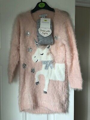 Girls Unicorn Dress With Tights Age 4-5 Brand New With Tags