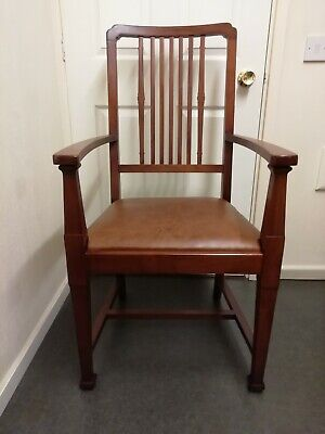William Morris Mahogany Repro Arts & Crafts Art Deco Chair Rg. No. 594007 VGC