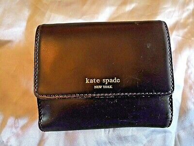 Kate Spade Black Smooth Leather French Wallet Flap BiFold Organizer Coin Clutch