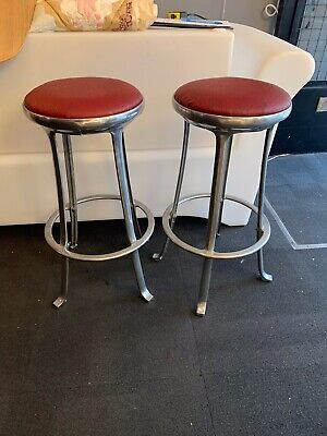 Pair Of 1970's Chrome and Faux Leather Bar Stools. Vintage/Retro/Mid Century