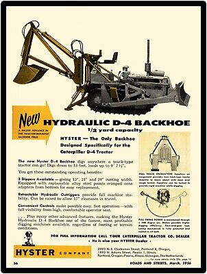 """1956 Hyster Company New Metal Sign: Hydraulic D-4 Backhoe Large Size: 12 x 16"""""""