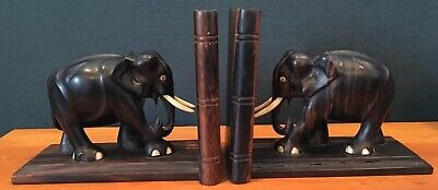Vintage Ebony/Teak Wood Hand Carved Elephant Bookends With Tusks and Eyes Bovine