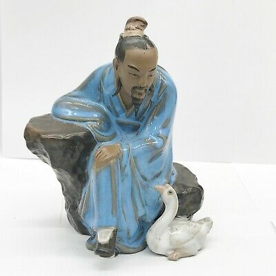 Vintage Chinese Japanese Clay Mud Man With Duck Goose Bird Shiwan Figure