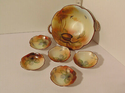 Antique Vintage Nippon Hand Painted Nut Bowl Set