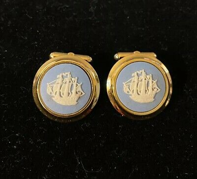 Wedgwood Blue White Jasperware Cufflinks Ship