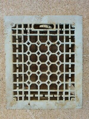 Antq Authentic 1800's ORNATE CAST IRON HEAT REGISTER VENT GRATE wall floor old