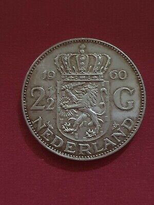 1960 Netherlands Holland 2 1/2 Gulden Silver Coin
