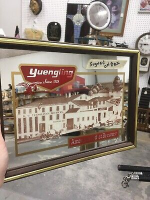 Rare HTF Yuengling Beer Bar Tavern Mirror Signed Dick Yuengling