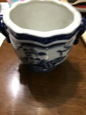 Chinese Porcelain Pottery Planter Blue White Hand Painted