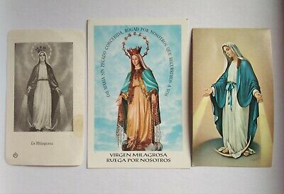 lote 3 estampas religiosa antiguas VIRGEN MILAGROSA holy card