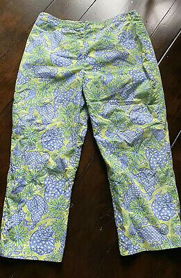 Lilly Pulitzer Cropped Pants Capris Green/blue Size 8P Cotton