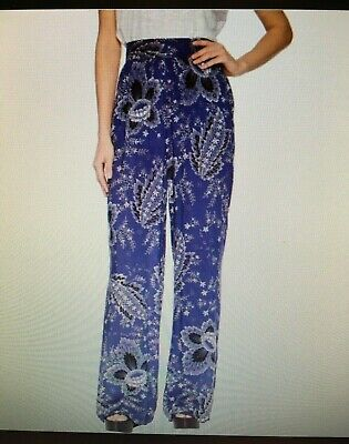 BCBGMAXAZRIA Womens Blue Floral Pleated HighRise WideLeg Palazzo Pants M NWT$198
