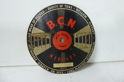 VINTAGE BCN 78s GRAMOPHONE RECORD NEEDLE CARD ADVERTISING SIGN