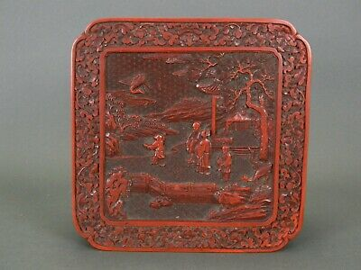 "18TH-19TH C. EXCEPTIONAL HAND CARVED CHINESE CINNABAR LACQUER BOX 6.75"" x 6.75"""