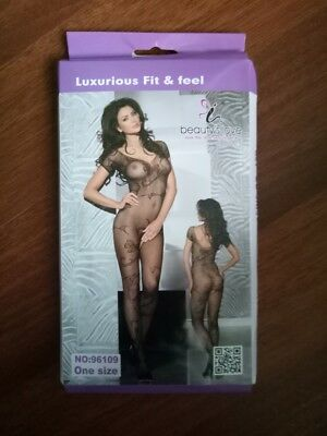 'New' Floral Lace Body Stocking With Short Sleeves - One Size