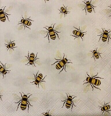 3 Paper Coctail Napkins for Decoupage / Parties/Weddings - Bees
