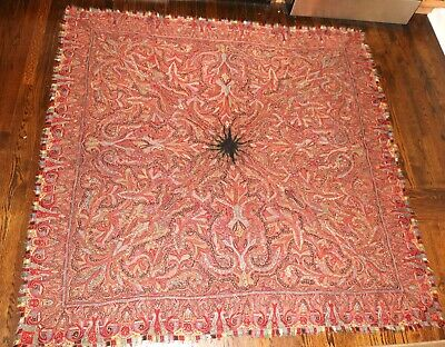 LARGE antique 19th century hand made sewn cashmere paisley shawl tapestry rug
