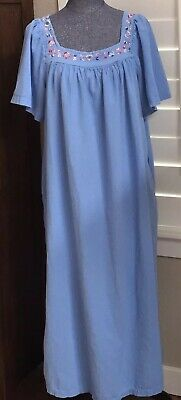 VERMONT COUNTRY STORE BLUE  COTTON NIGHTGOWN 1X Embroidered Flowers House-dress