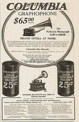 1904 Columbia Phonograph Co Graphophone Moulded Record Talking Machine print ad