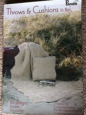 Panda Knitting & Crochet Pattern Book 210 Throws and Cushions in 8 Ply