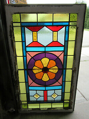 ~ Antique Stained Glass Window 1 Of 2 ~ 24 X 40 ~ Architectural Salvage
