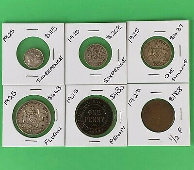 1925 Complete Coin Set Half Penny Sixpence Florin Penny Threepence One Shilling