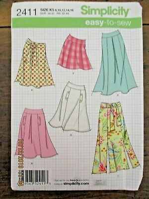 ~SIMPLICITY 2411 - MISSES SKIRTS WITH LENGTH VARIATIONS - SIZE 8 to 16 - UNCUT~