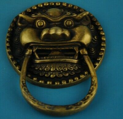 Chinese old Hand Made Copper Casting Lions knocker statue /5 b02