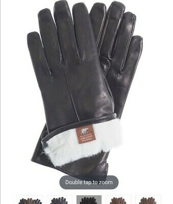 New Sealed Fratelli Orsini Everyday Womens Leather Gloves Rabbit Fur Lined size7