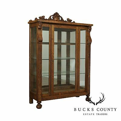 Antique Victorian Oak Lion Carved Claw Foot China Cabinet
