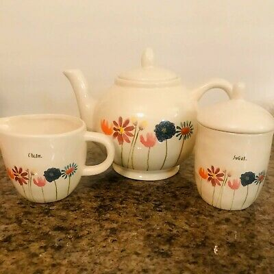 """BRAND NEW"" Spring Flowers Rae Dunn Tea Pot, Sugar Bowl and Cream Creamer Set"