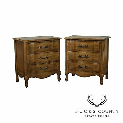 Thomasville French Louis XV Style Vintage Pecan Wood 3 Drawer Chests, Nightstand