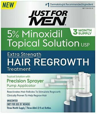 Just for Men 5% Minoxidil Topical Hair Loss Regrowth System NEW (3 MONTH SUPPLY)