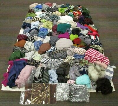 160 Ladies Scarves, 12.5kg, Mixed Lot, Different Styles, Sizes, Shapes, Colours