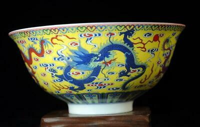 china old hand-made famille rose porcelain five dragon bowl /qianlong mark b01