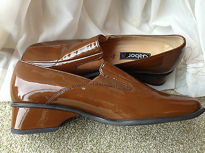 Ladies Gabor Lady brown patent leather slip on loafer style shoes UK 5 EU 38 NEW