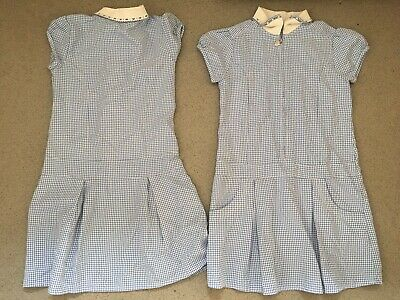 2 Girls M+S School BLUE GINGHAM dresses 9 years - UNIFORM Marks Spencer VGC