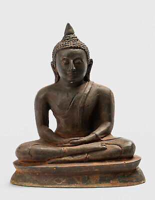 19th Siglo Bronce Antiguo Sri Lanka Sentado Mediation Buda Estatua 15cm/15.2cm